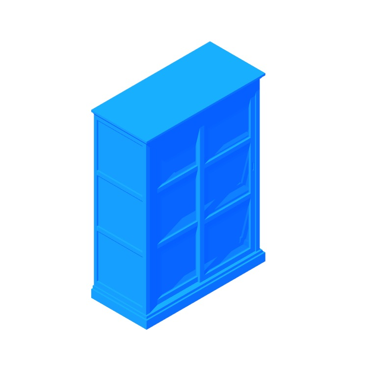 3D model of the IKEA Malsjö Glass Door Cabinet - Wide viewed in perspective