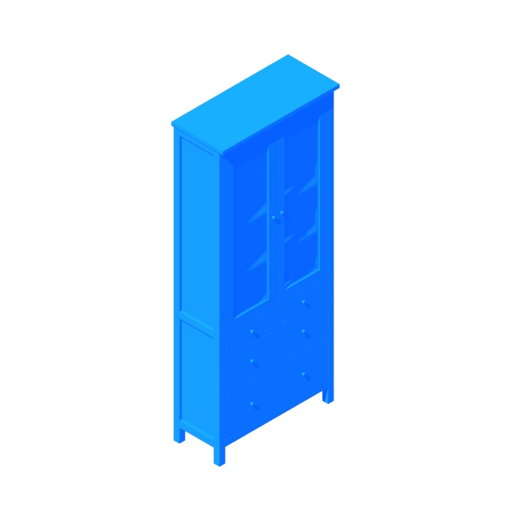 3D model of the IKEA Hemnes Glass Door Cabinet - Drawers viewed in perspective