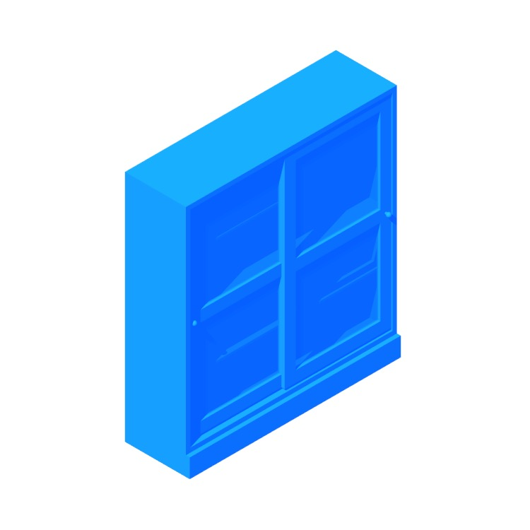 Perspective view of a 3D model of the IKEA Havsta Glass Door Cabinet - Wide