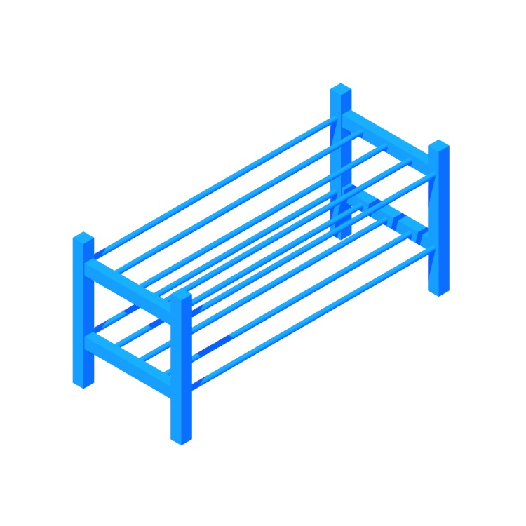 3D model of the IKEA Tjusig Shoe Rack viewed in perspective