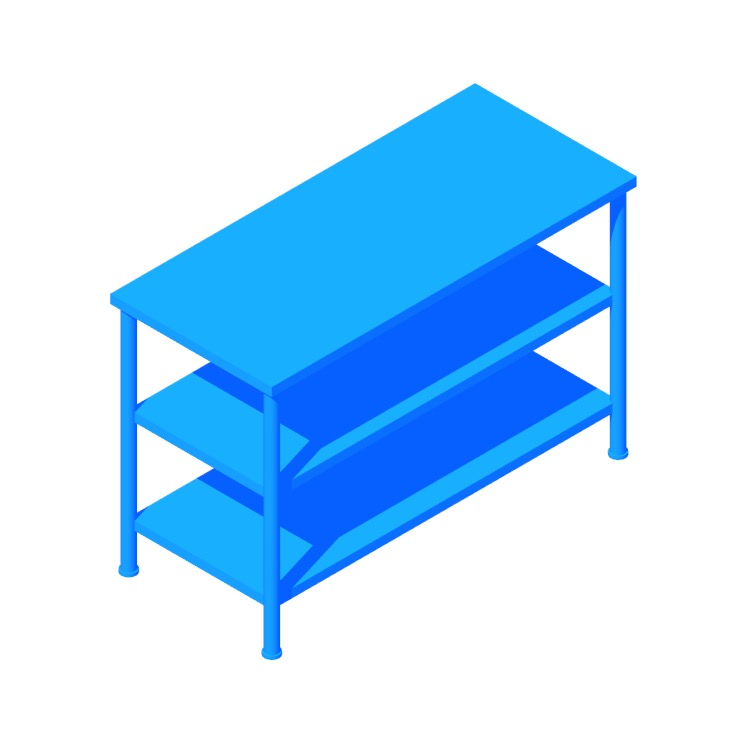 Perspective view of a 3D model of the IKEA Pinnig Shoe Storage Bench