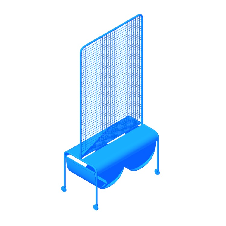 3D model of the IKEA Veberöd Room Divider viewed in perspective