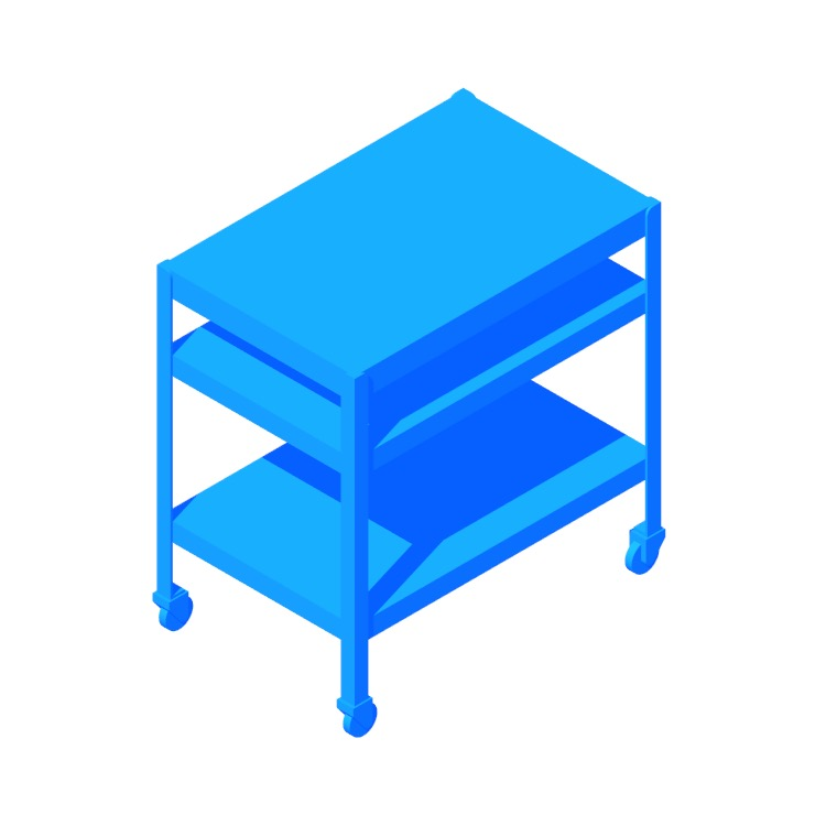 Perspective view of a 3D model of the IKEA Bror Utility Cart