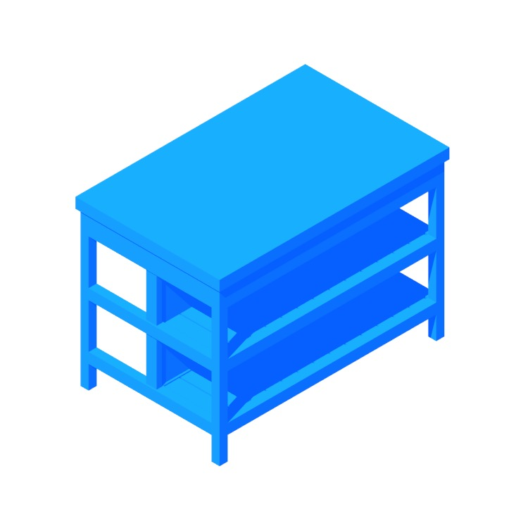 Perspective view of a 3D model of the IKEA Vadholma Kitchen Island (Wide)