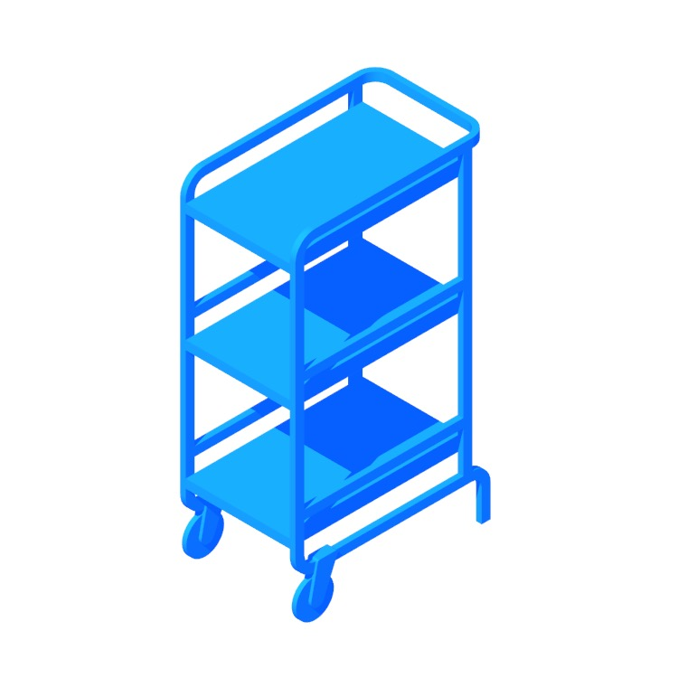 3D model of the IKEA Sunnersta Utility Cart viewed in perspective