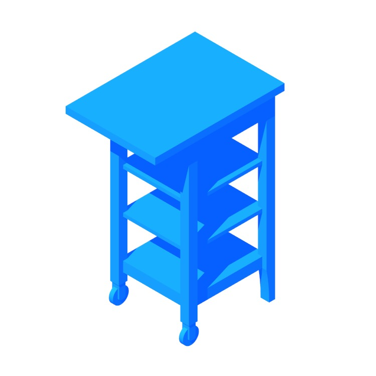 Perspective view of a 3D model of the IKEA Stenstorp Kitchen Cart