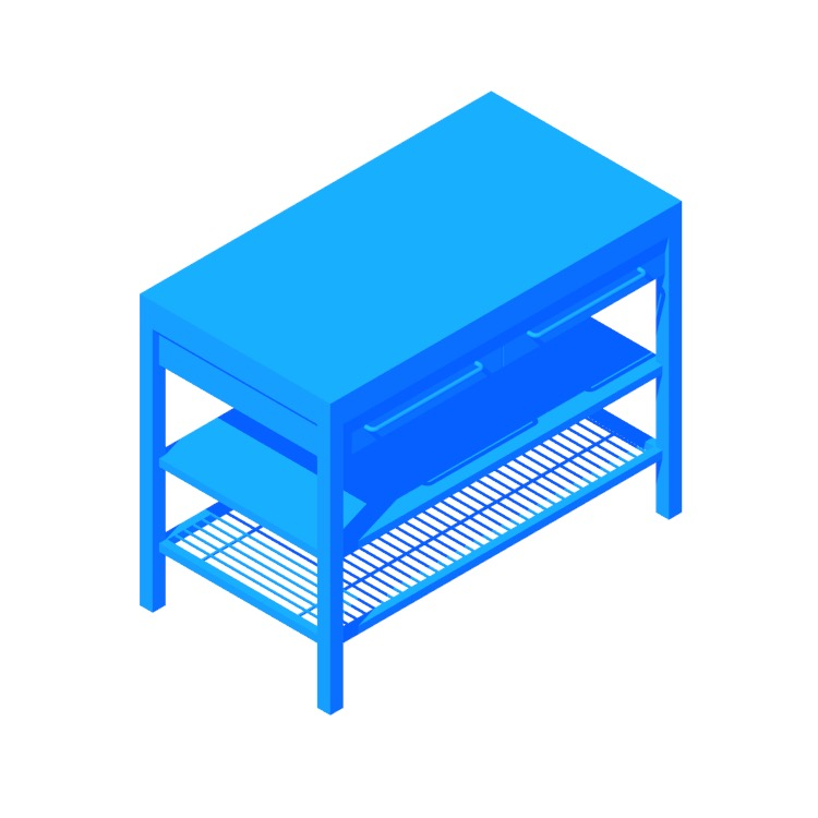 3D model of the IKEA Rimforsa Work Bench viewed in perspective