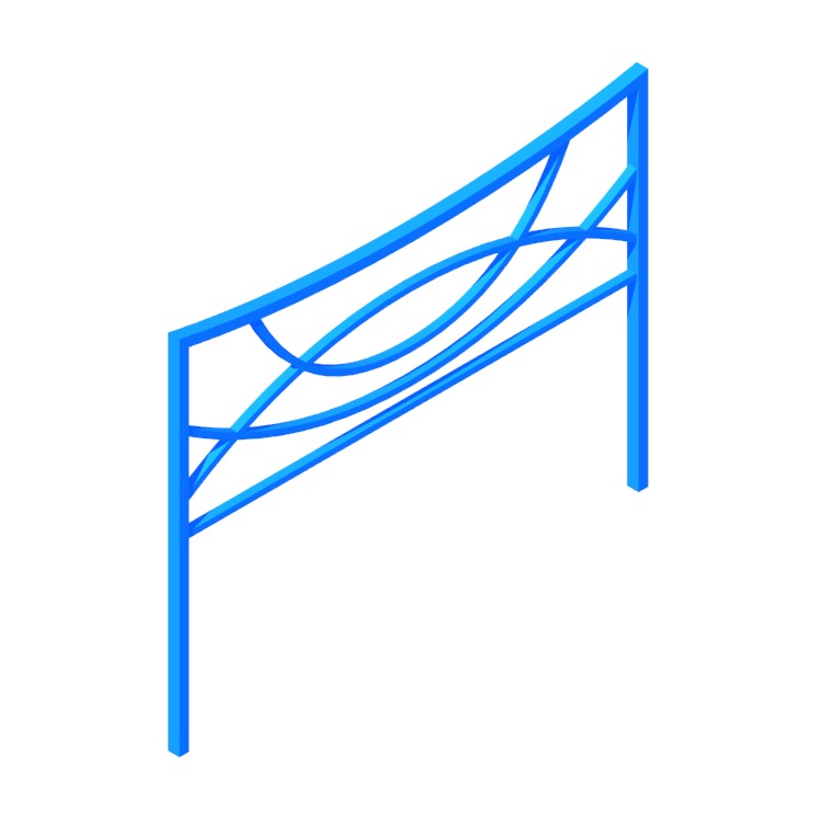 View of the Connally Open-Frame Headboard in 3D available for download