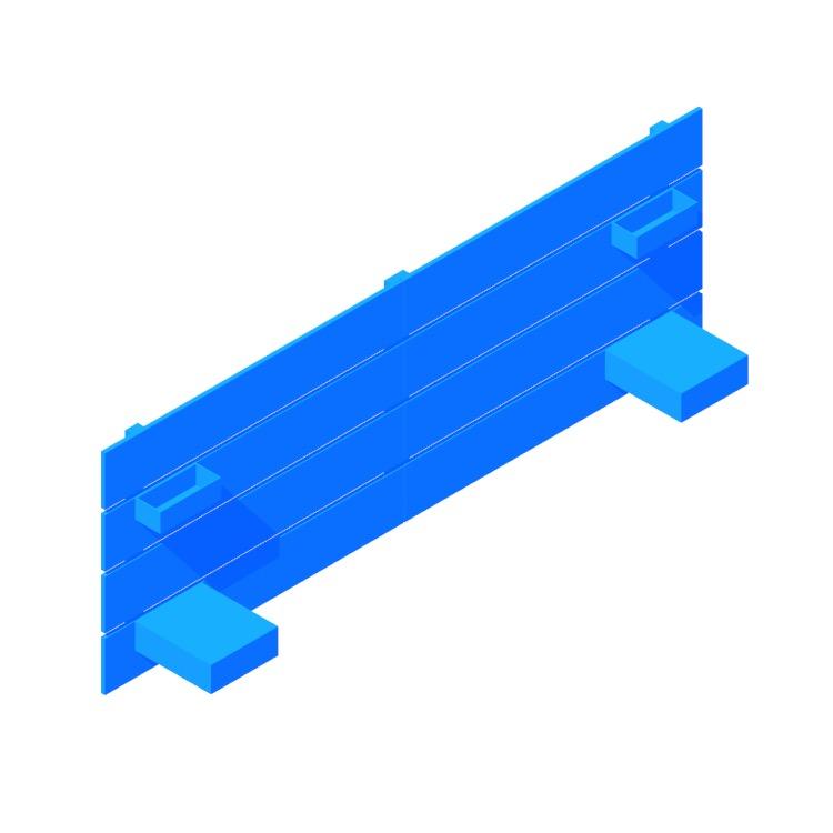 3D model of the IKEA Nordli Headboard viewed in perspective