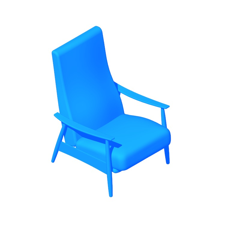 Perspective view of a 3D model of the Milo Baughman Recliner 74