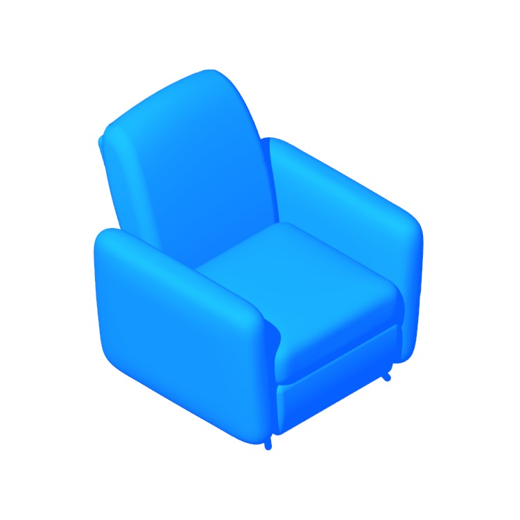 Perspective view of a 3D model of the IKEA Ekolsund Recliner