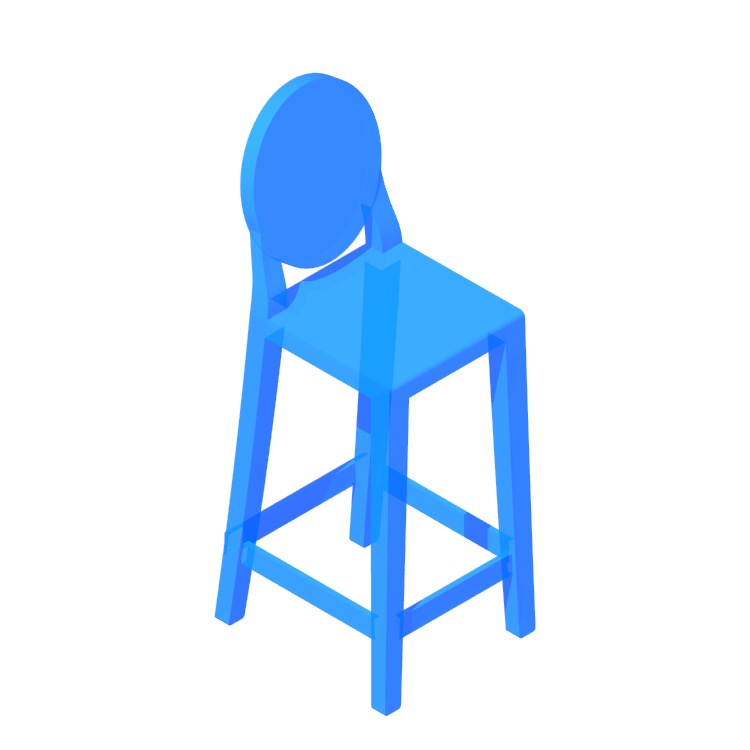 Perspective view of a 3D model of the One More Stools