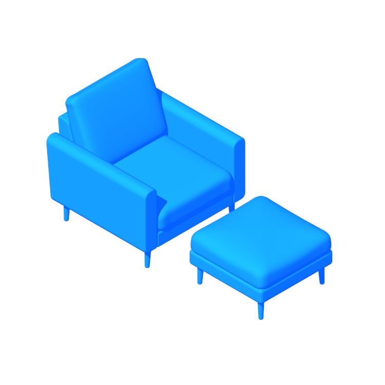 3D model of the Burrow Nomad Armchair & Ottoman viewed in perspective