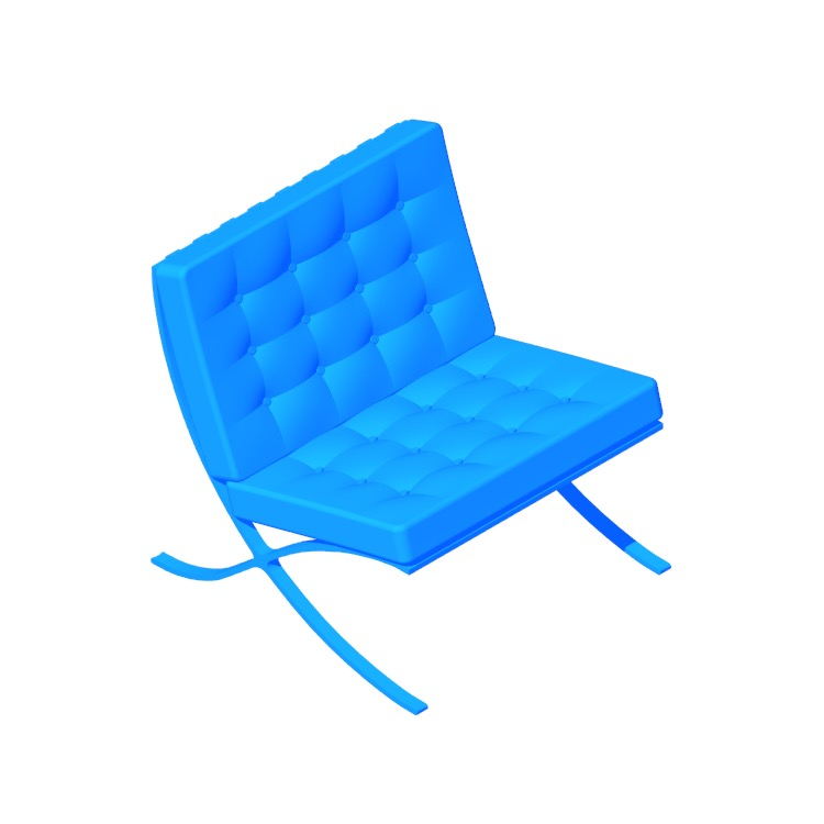 3D model of the Barcelona Chair viewed in perspective