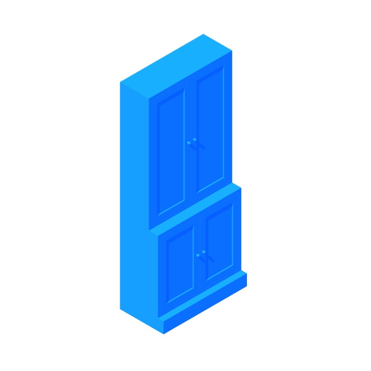Perspective view of a 3D model of the IKEA Havsta Storage Combination Cabinet