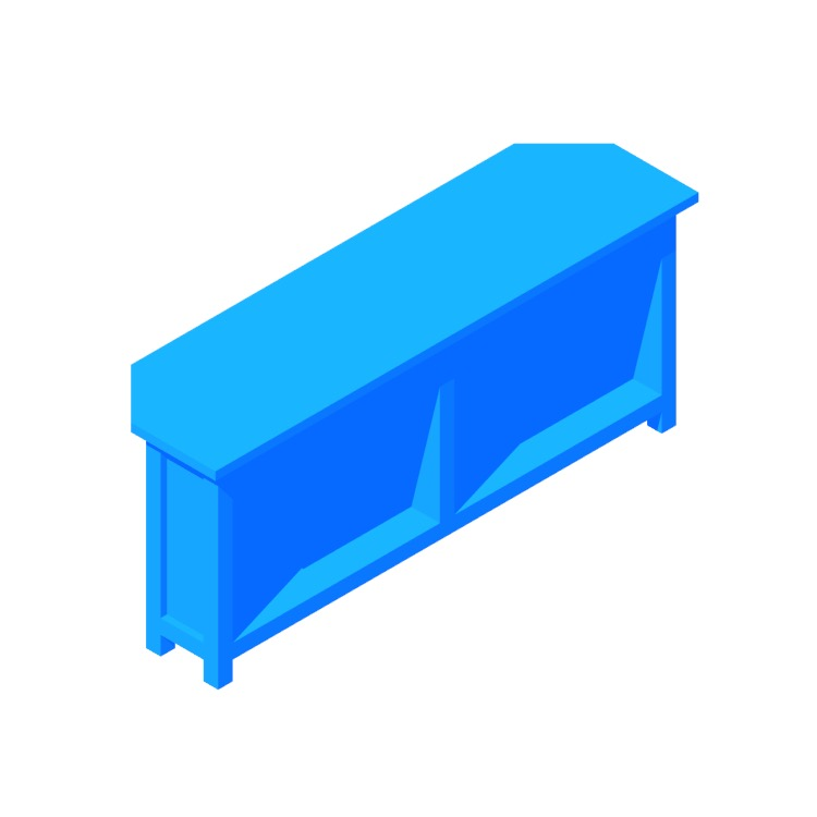 3D model of the IKEA Hemnes Corner TV Bench viewed in perspective
