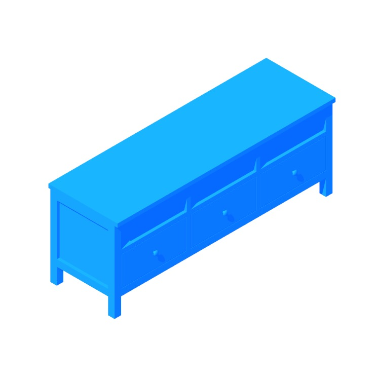 View of the IKEA Hemnes TV Unit in 3D available for download