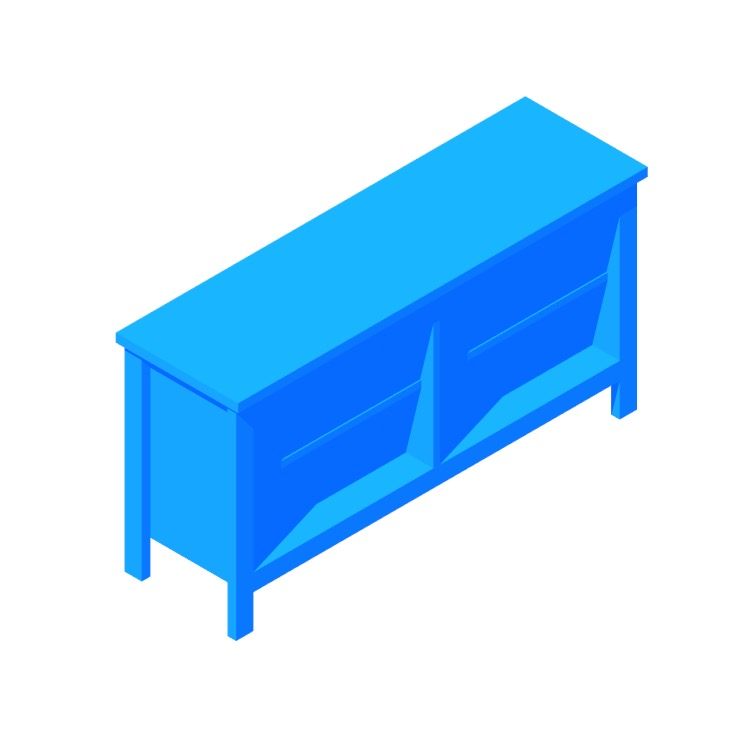 3D model of the IKEA Brusali TV Unit viewed in perspective