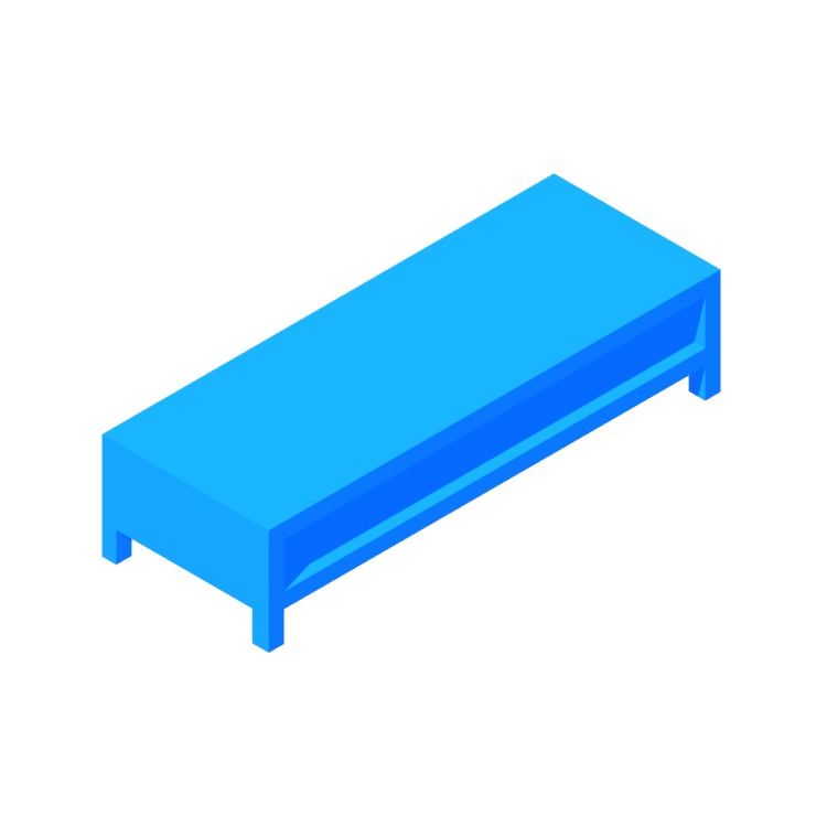 3D model of the IKEA Lack TV Unit - Low viewed in perspective