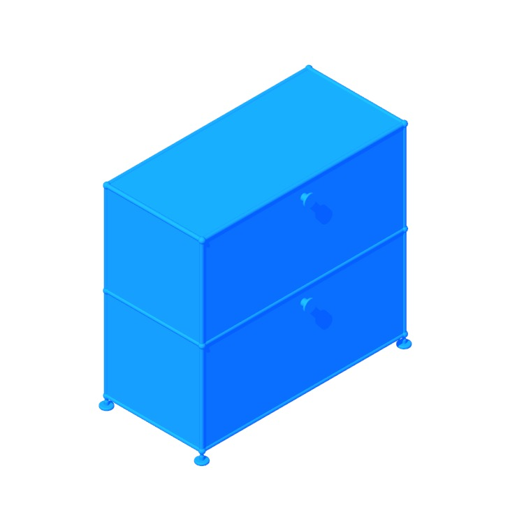 Perspective view of a 3D model of the USM Haller Half File Credenza