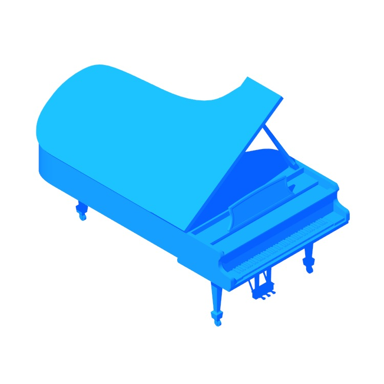 View of the Steinway Grand Piano Model D in 3D available for download