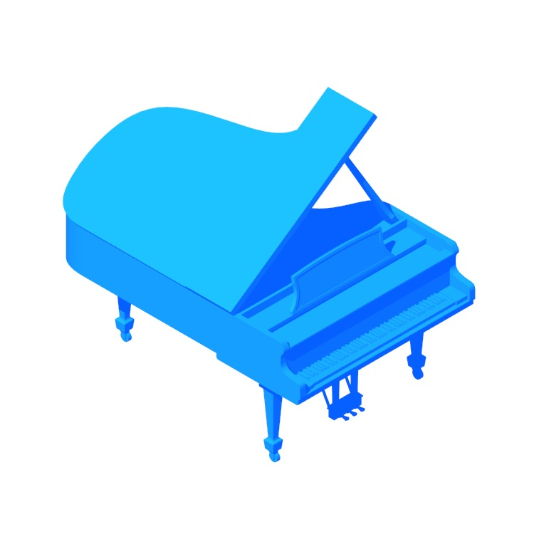 Perspective view of a 3D model of the Steinway Grand Piano Model B