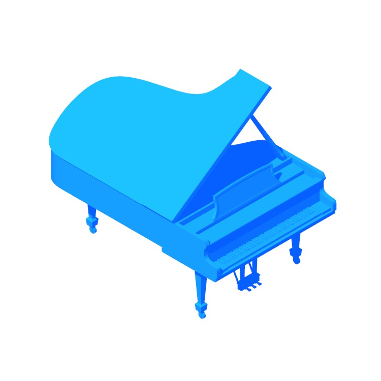 3D model of the Steinway Grand Piano Model C viewed in perspective
