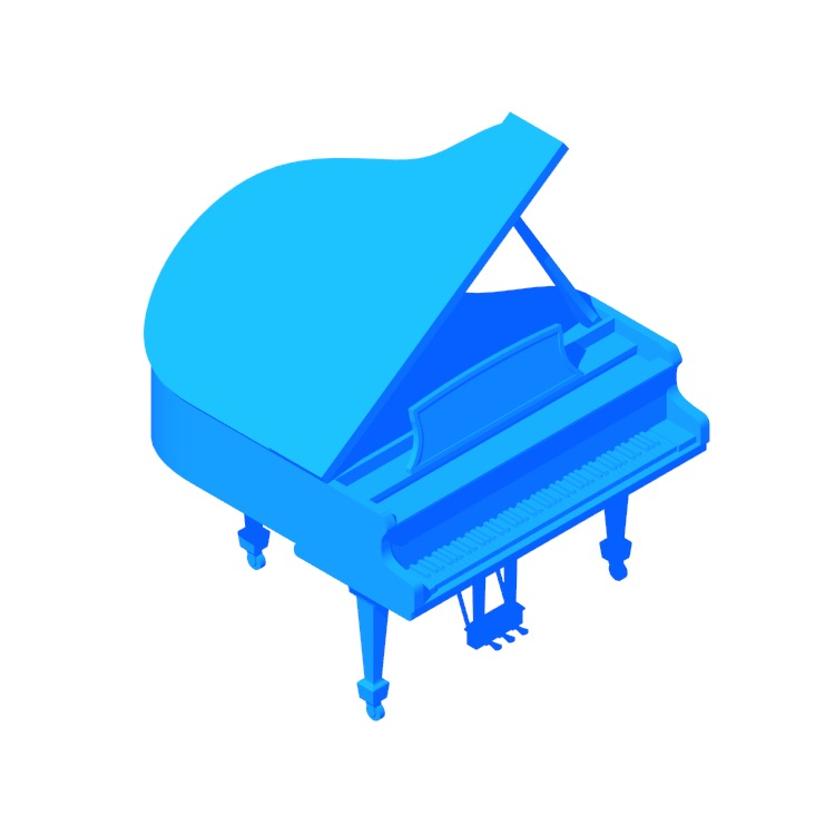 Perspective view of a 3D model of the Steinway Grand Piano Model S