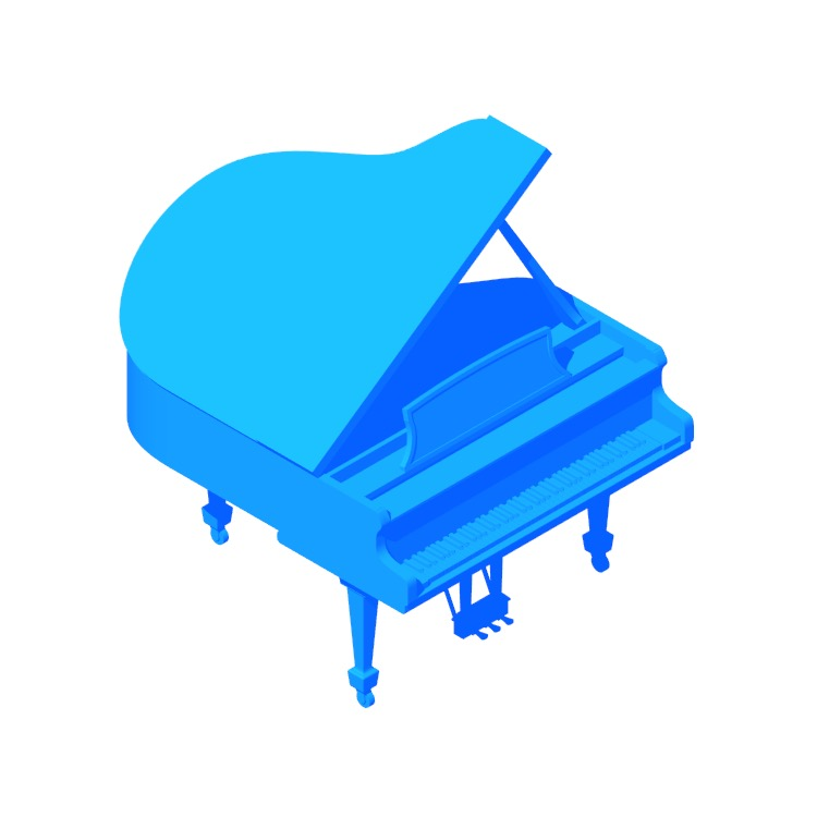 3D model of the Steinway Grand Piano Model M viewed in perspective