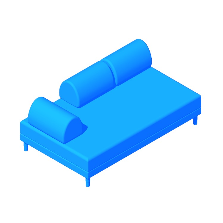 Perspective view of a 3D model of the IKEA Flottebo Sleeper Sofa