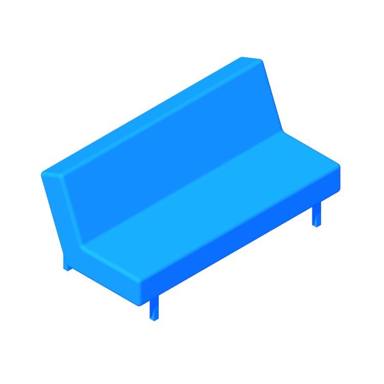 3D model of the IKEA Balkarp Sleeper Sofa viewed in perspective