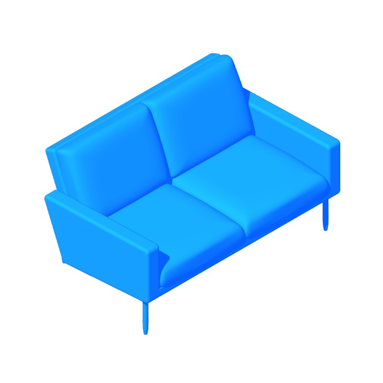 View of the Raleigh Two-Seater Sofa in 3D available for download
