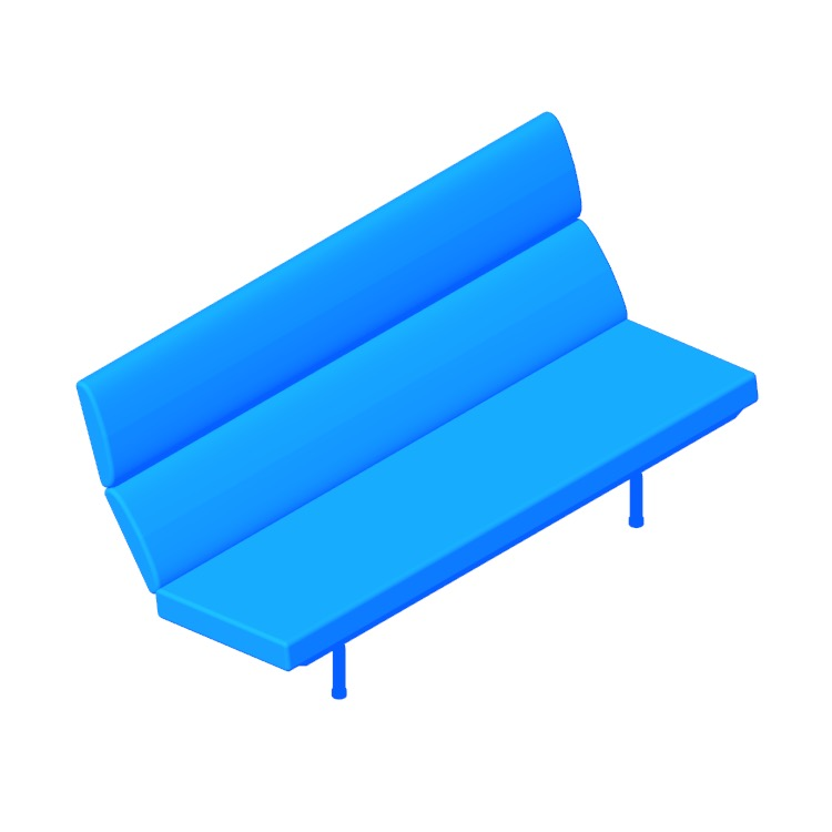 3D model of the Eames Sofa Compact viewed in perspective