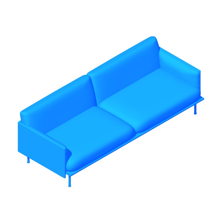 Perspective view of a 3D model of the Outline Sofa