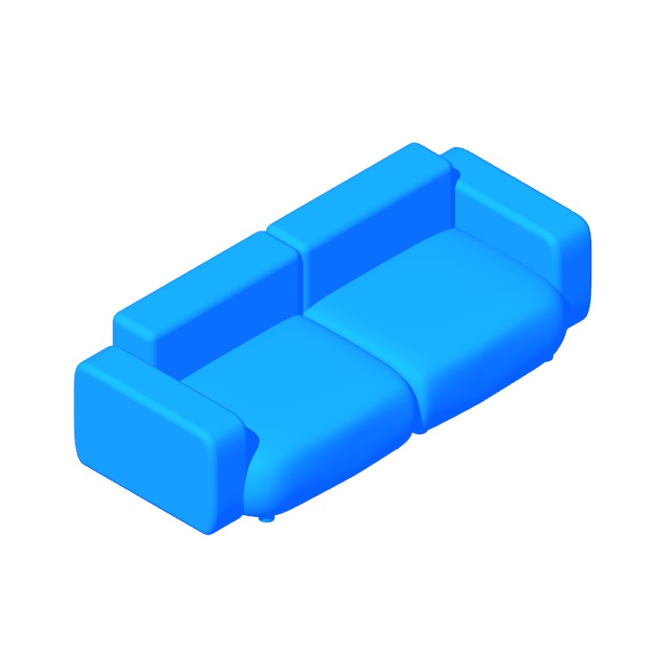 3D model of the Mags Soft Low 2.5 Seater Sofa viewed in perspective