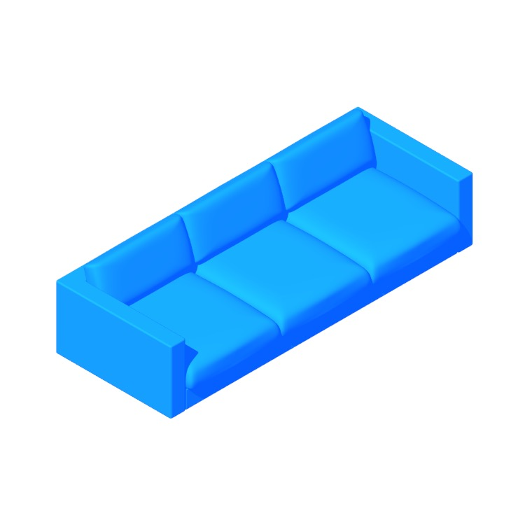 Perspective view of a 3D model of the Lispenard Sofa
