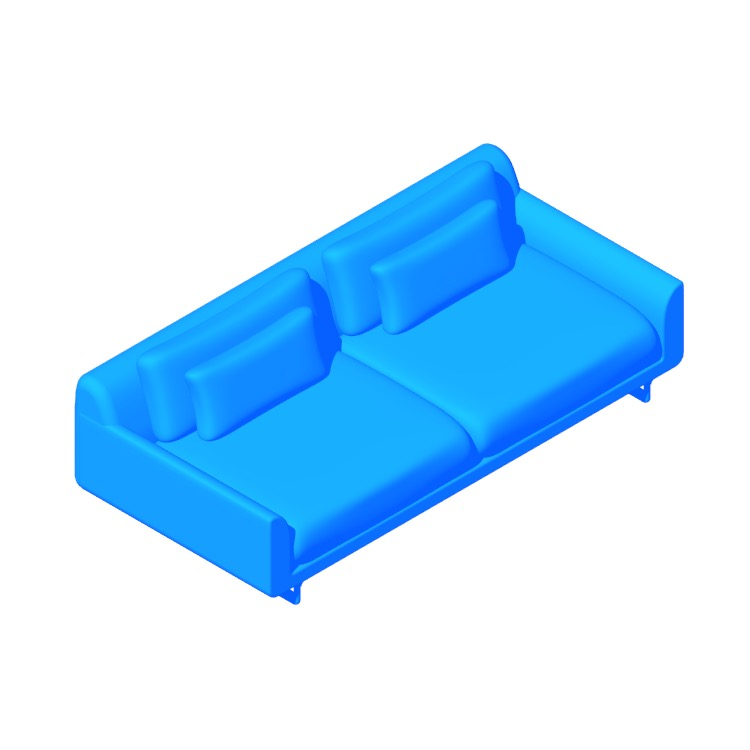 "View of the Lecco 93"" Sofa in 3D available for download"