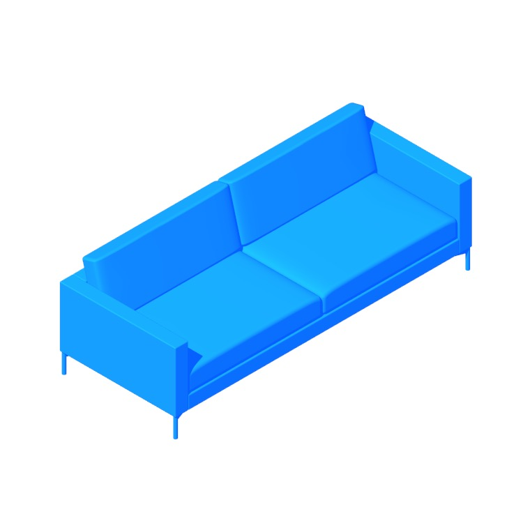 Perspective view of a 3D model of the Divina Sofa
