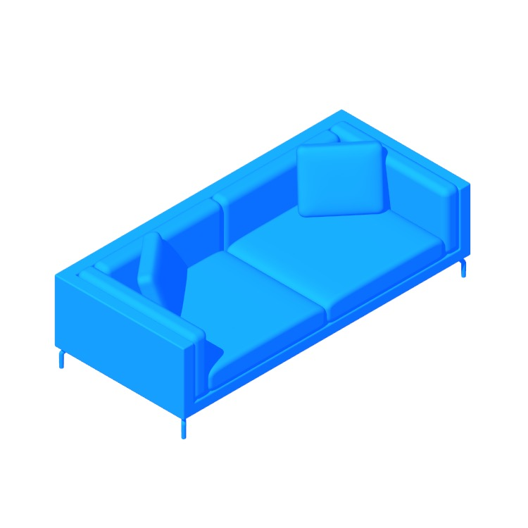"3D model of the Como 92"" Sofa viewed in perspective"