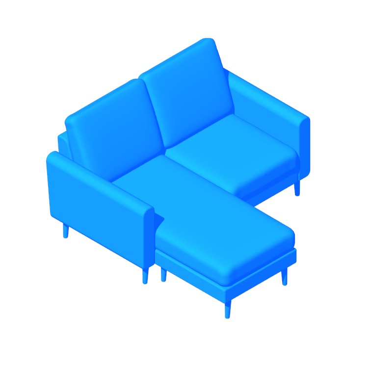 3D model of the Burrow Nomad Chaise Loveseat viewed in perspective