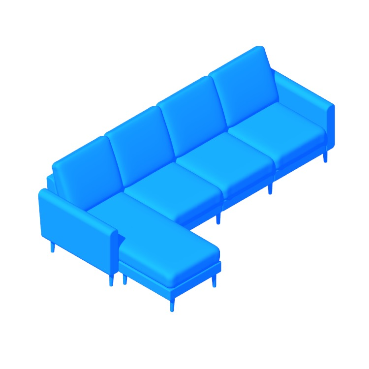 Perspective view of a 3D model of the Burrow Nomad Chaise King Sofa