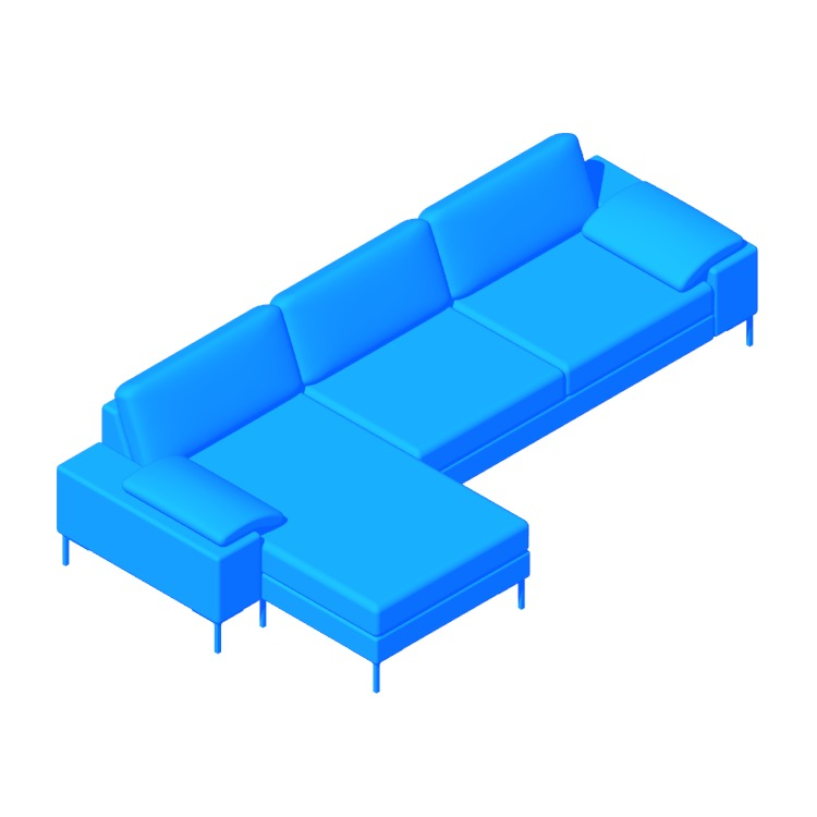 3D model of the Arena Sectional with Chaise viewed in perspective