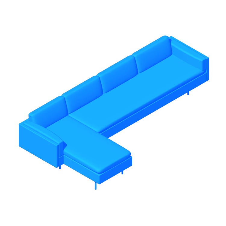 View of the Bolster Sectional Chaise in 3D available for download
