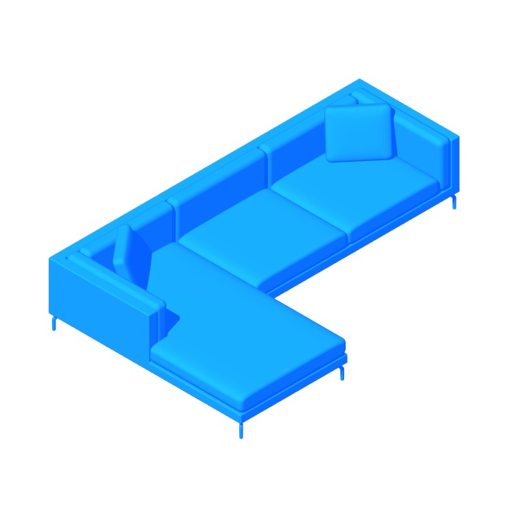 View of the Como Sectional Chaise in 3D available for download