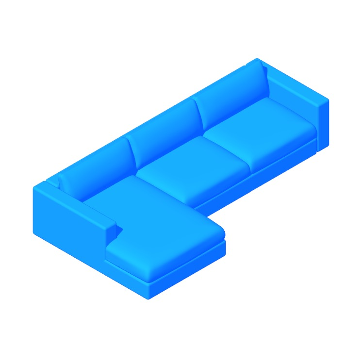 Perspective view of a 3D model of the Reid Sectional Chaise