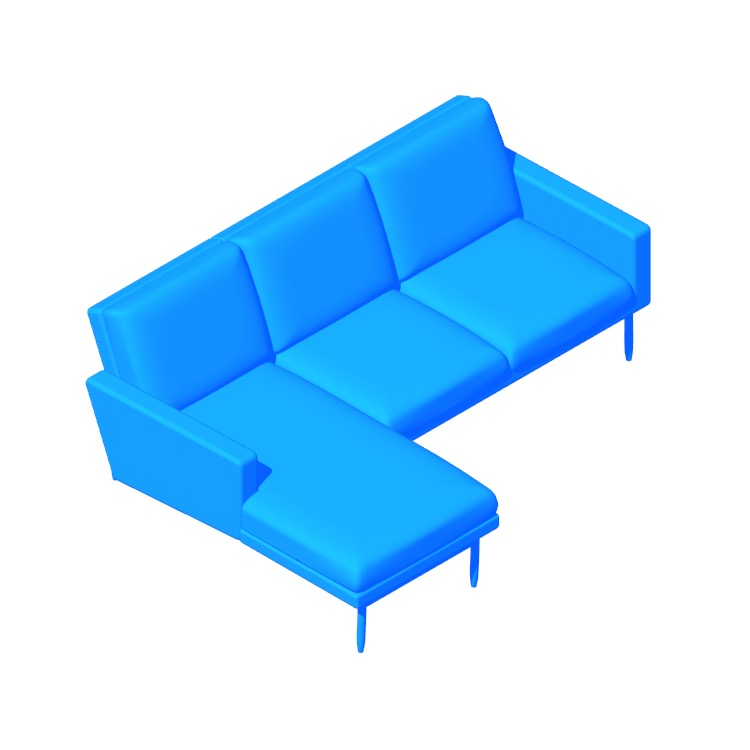 3D model of the Raleigh Sectional with Chaise viewed in perspective