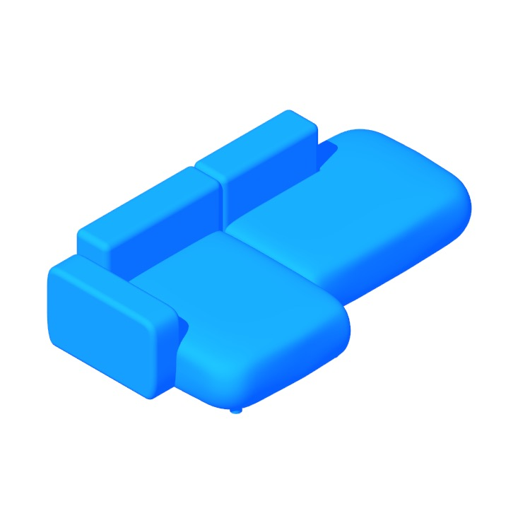 3D model of the Mags Soft Low Sectional with Chaise viewed in perspective
