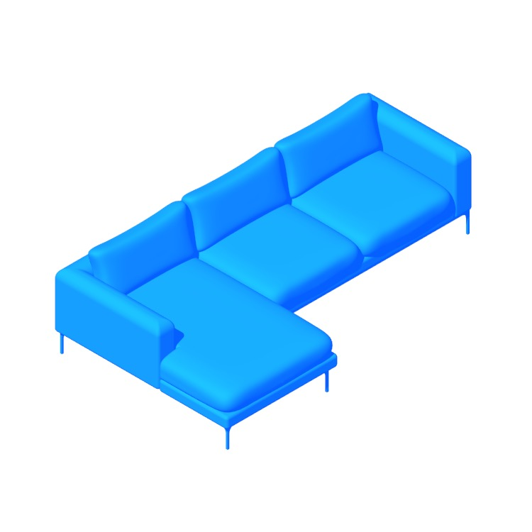 3D model of the Jonas Sectional with Chaise viewed in perspective