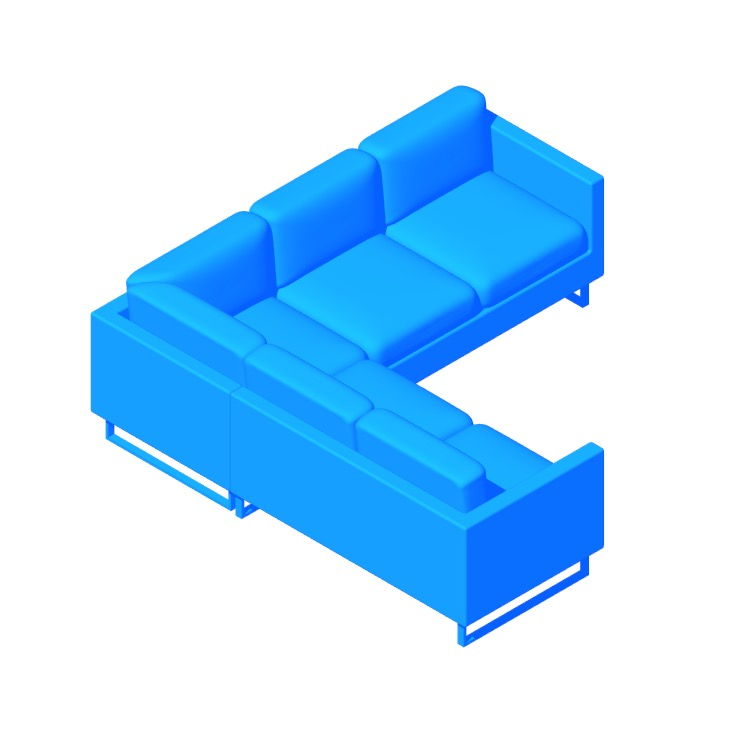 Perspective view of a 3D model of the Goodland Small Sectional