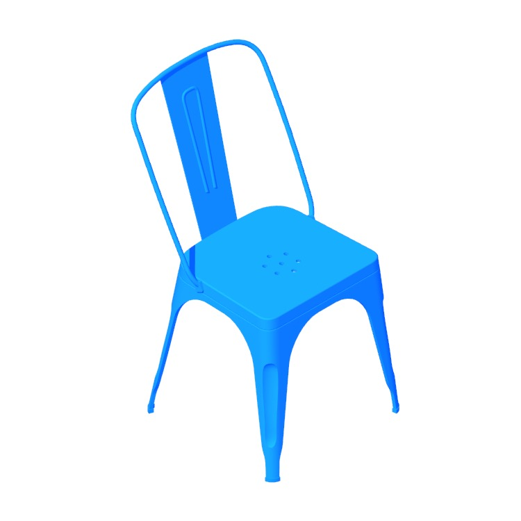 Perspective view of a 3D model of the Marais A Chair